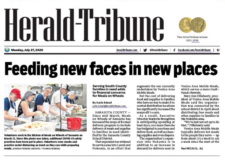 Herald-Tribune Article Preview: https://lakewoodranchadvertisingagency.com/pandemic-deliveries-stretch-resources-at-meals-on-wheels/